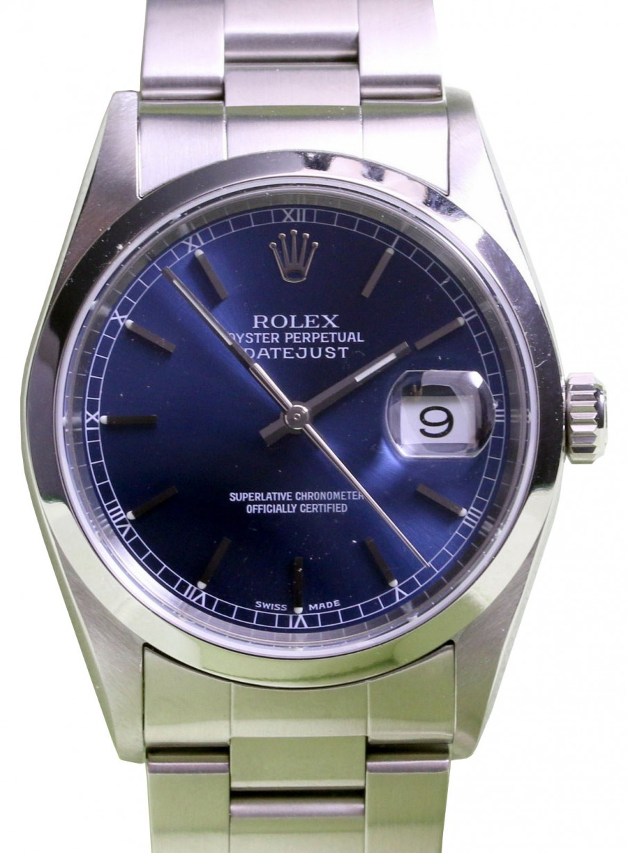 3352218f6b8 More Views. Rolex Datejust 16200 Men's 36mm Blue Index Stainless Steel ...