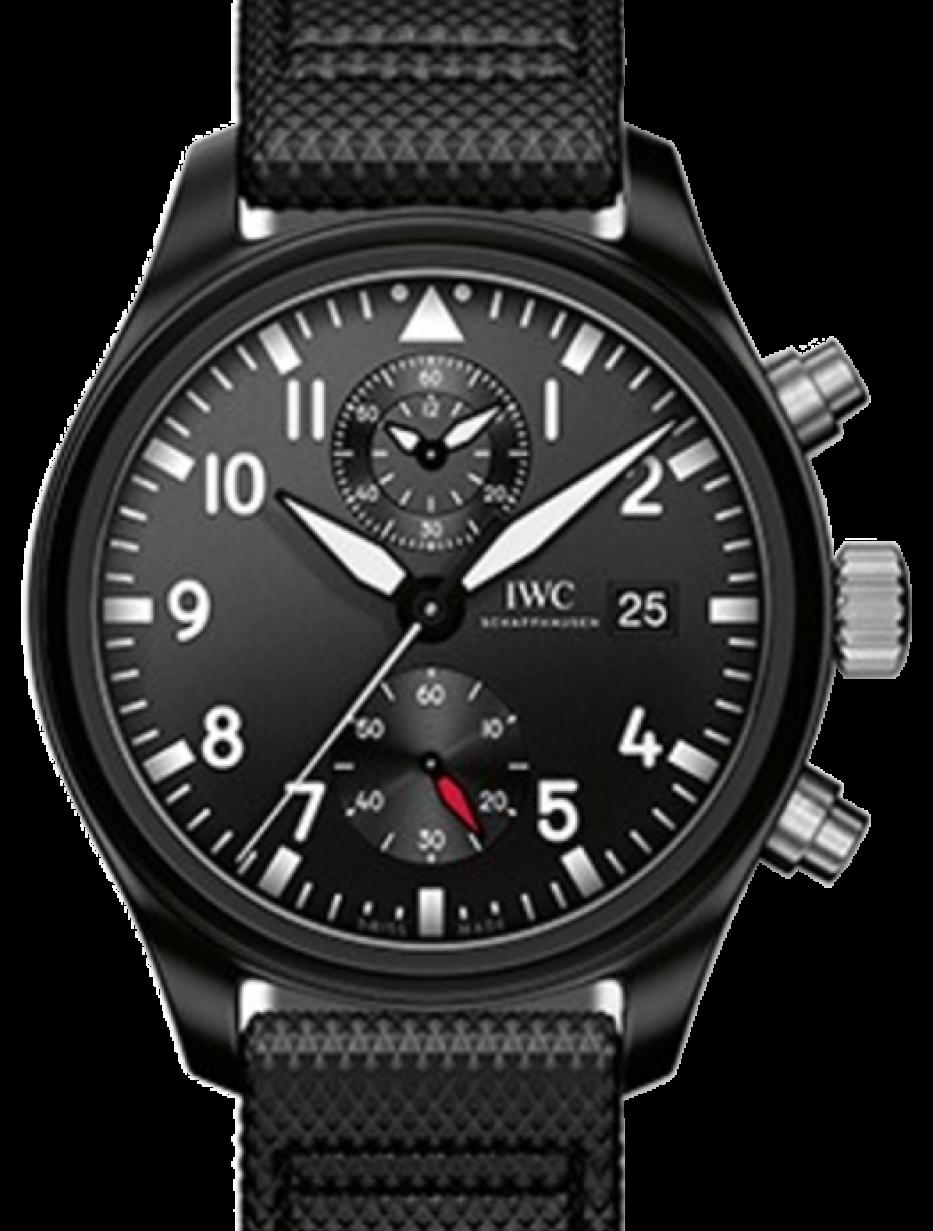 separation shoes c3579 ca1be IWC Schaffhausen IW389001 Pilot's Watch Chronograph Top Gun Black Arabic  Ceramic Black Leather 44mm Automatic