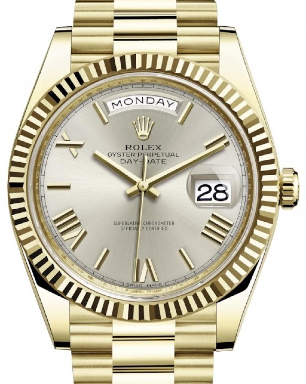 Rolex Day Date 40 Yellow Gold Silver Roman Dial Fluted Bezel President Bracelet 228238 Brand New