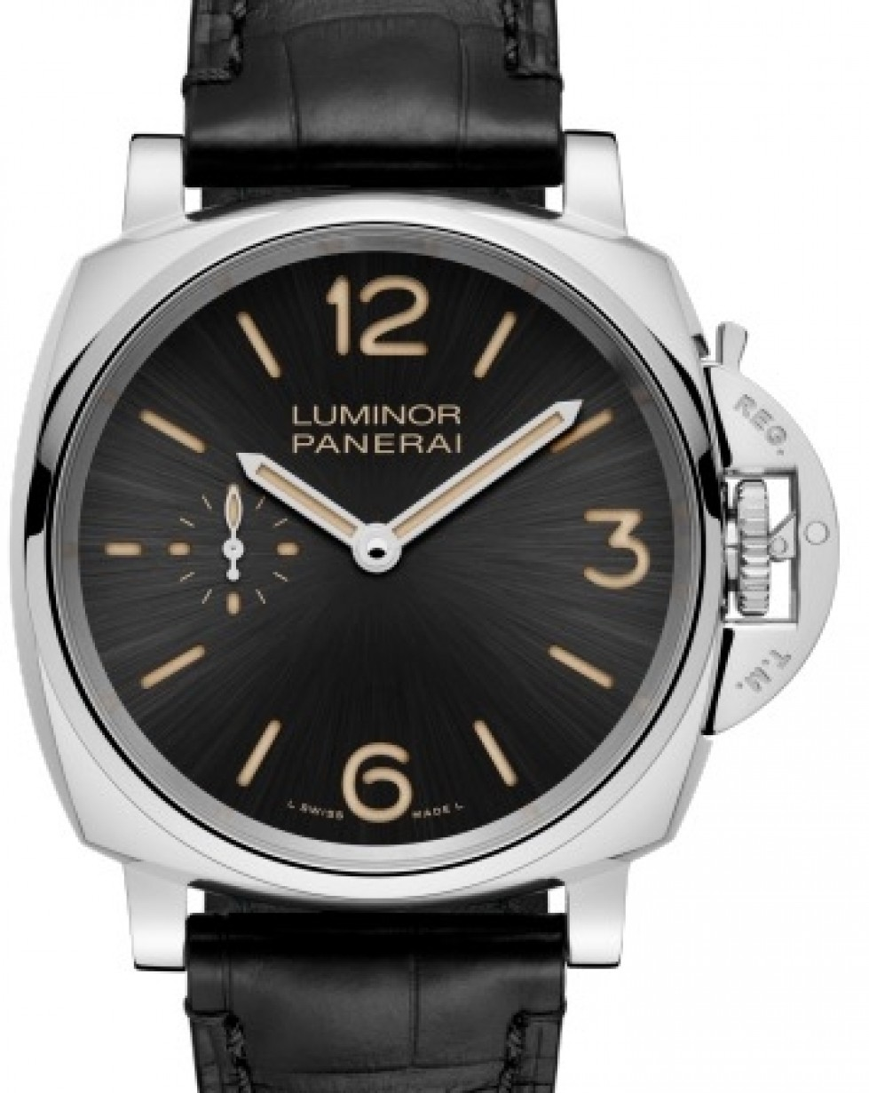 Leather Stainless Arabic Brand Due Bracelet Dialamp; 42mm Luminor Steel Black Panerai Smooth 676 Pam New Index 1FJTKlc