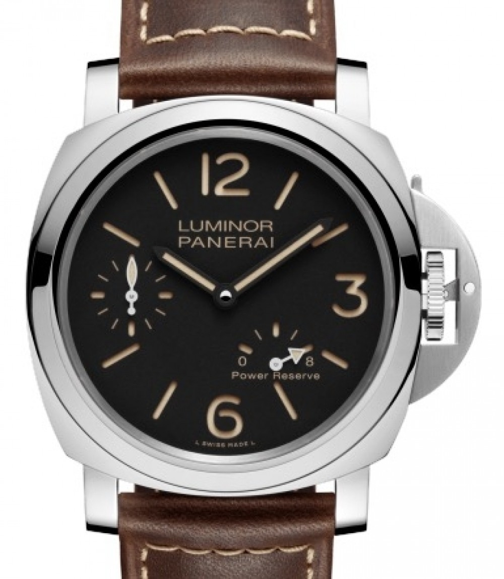 Panerai PAM 795 Luminor 8 Days Power Reserve Stainless Steel Black Arabic /  Index Dial & Smooth Leather Bracelet 44mm - BRAND NEW