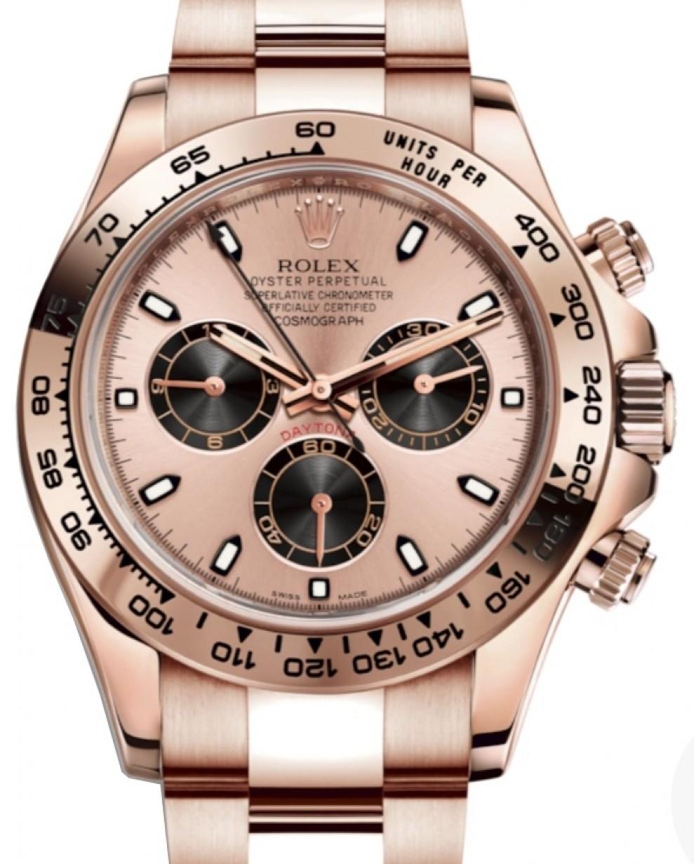 Rolex Daytona Rose Gold Pink \u0026 Black Index Dial Rose Gold Bezel Oyster  Bracelet 116505 , BRAND NEW