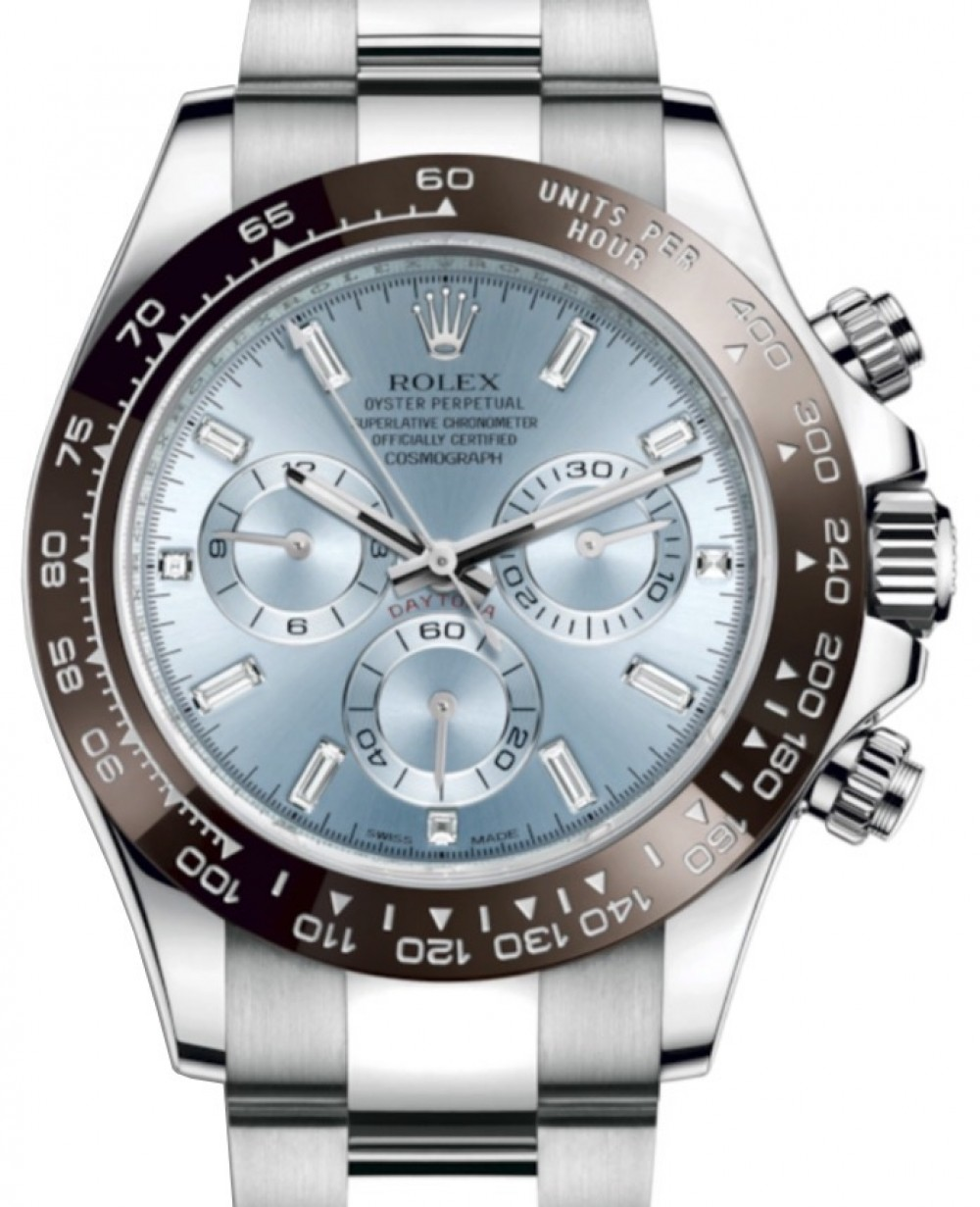 Rolex Daytona Platinum Ice Blue Index 8 Baguette Diamond Dial Chestnut  Brown Ceramic Bezel Oyster Bracelet 116506 , BRAND NEW