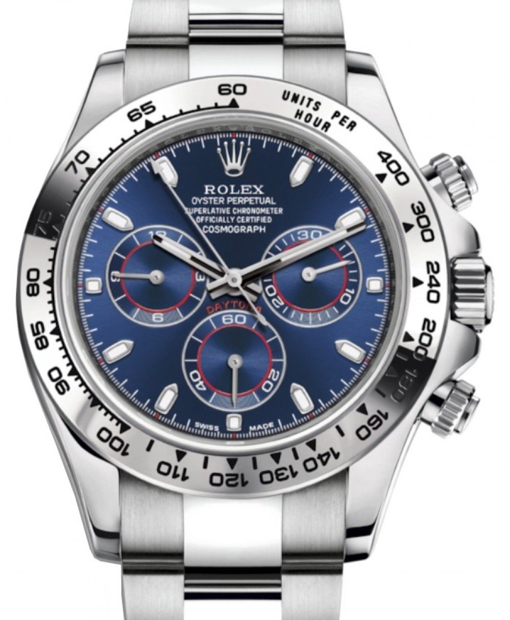 Rolex Daytona White Gold Blue Index Dial White Gold Bezel Oyster Bracelet  116509 , BRAND NEW