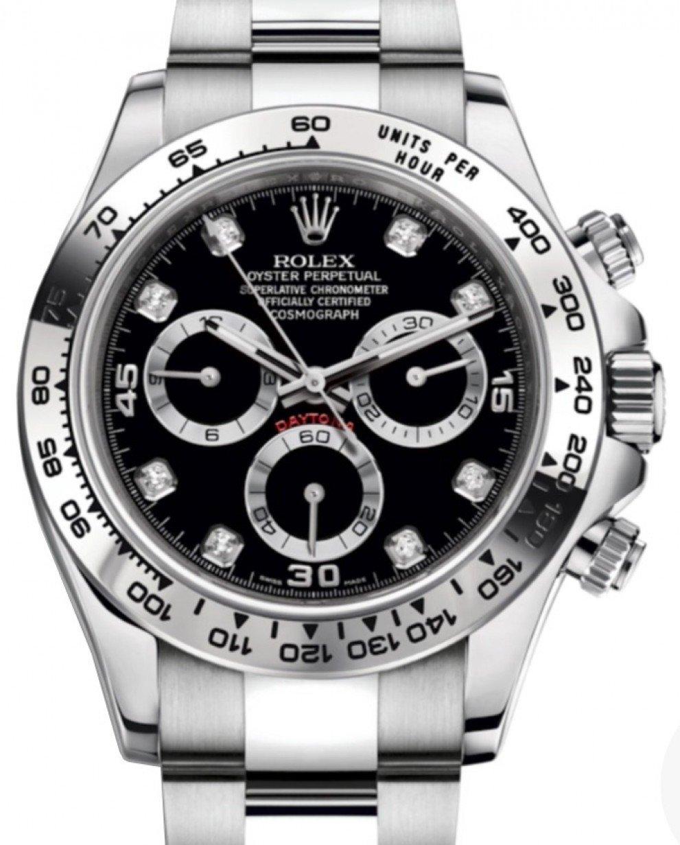 Rolex Daytona White Gold Black Diamond Dial White Gold Bezel Oyster  Bracelet 116509 , BRAND NEW