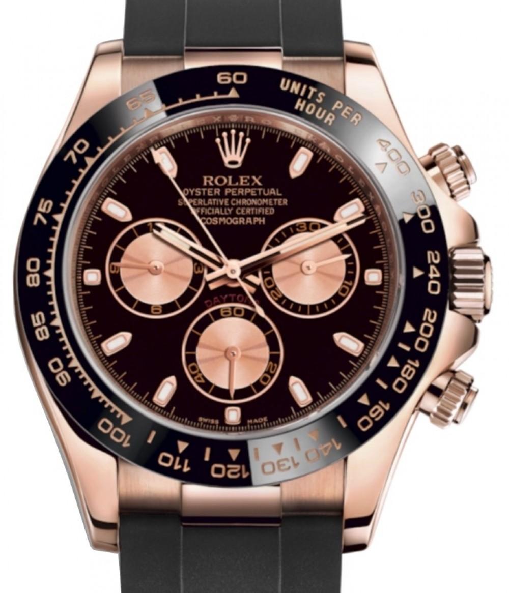 Rolex Daytona Rose Gold Black/Pink Index Dial Ceramic Bezel Oysterflex  Rubber Bracelet 116515LN , BRAND NEW