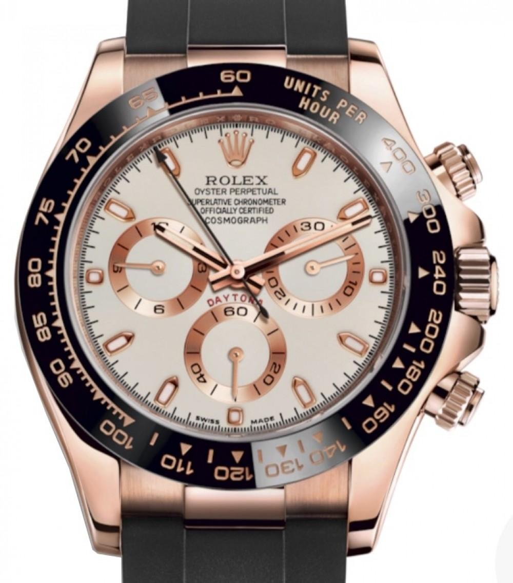 Rolex Daytona Rose Gold Ivory Index Dial Ceramic Bezel Oysterflex Rubber  Bracelet 116515LN , BRAND NEW