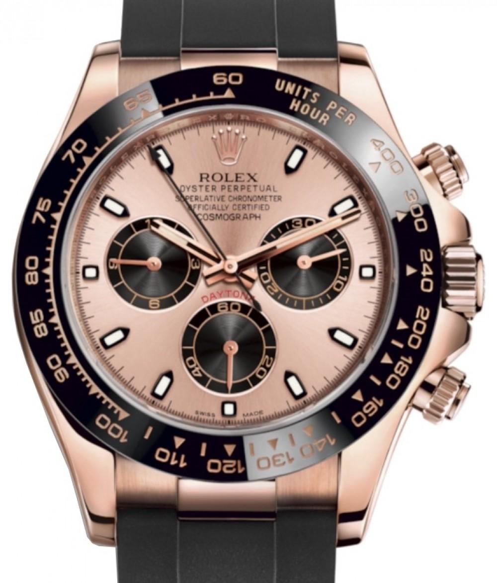 Rolex Daytona Rose Gold Pink/Black Index Dial Ceramic Bezel Oysterflex  Rubber Bracelet 116515LN , BRAND NEW