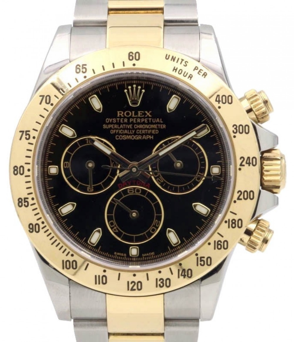 Rolex Daytona 116523 Black Chronograph Yellow Gold Stainless Steel NEW  STYLE DEPLOYMENT , PRE,OWNED