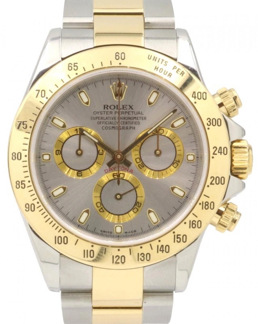 Rolex Cosmograph Daytona 116523 Silver Index 18k Yellow Gold