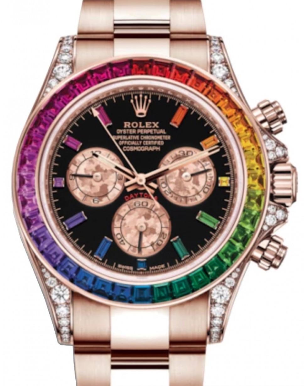 Rolex Daytona Rose Gold Black Gem Dial \u0026 Rainbow Sapphire Bezel Diamond Set  Case 116595RBOW , BRAND NEW