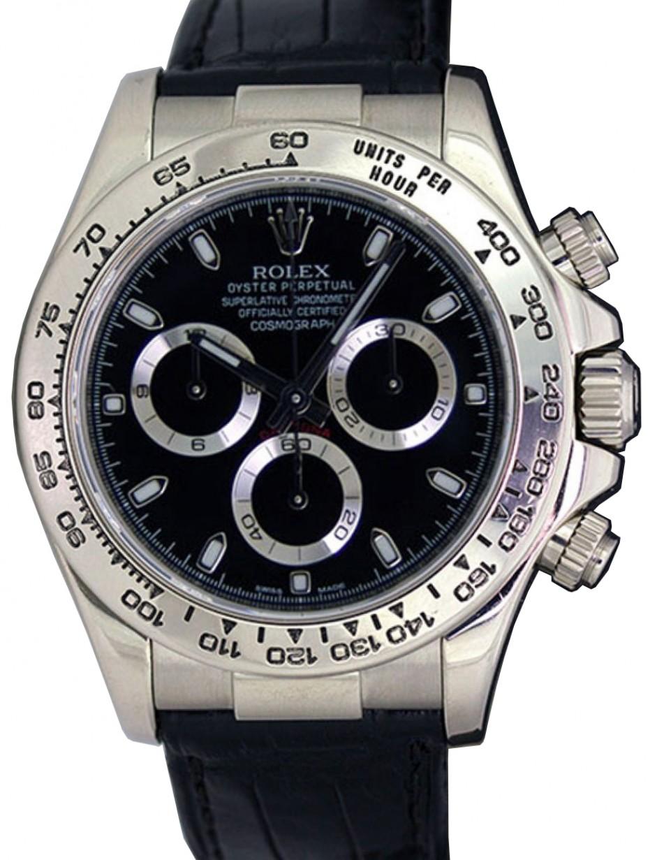 Rolex Daytona 116519 Blksbl Black Index Black Leather Brand
