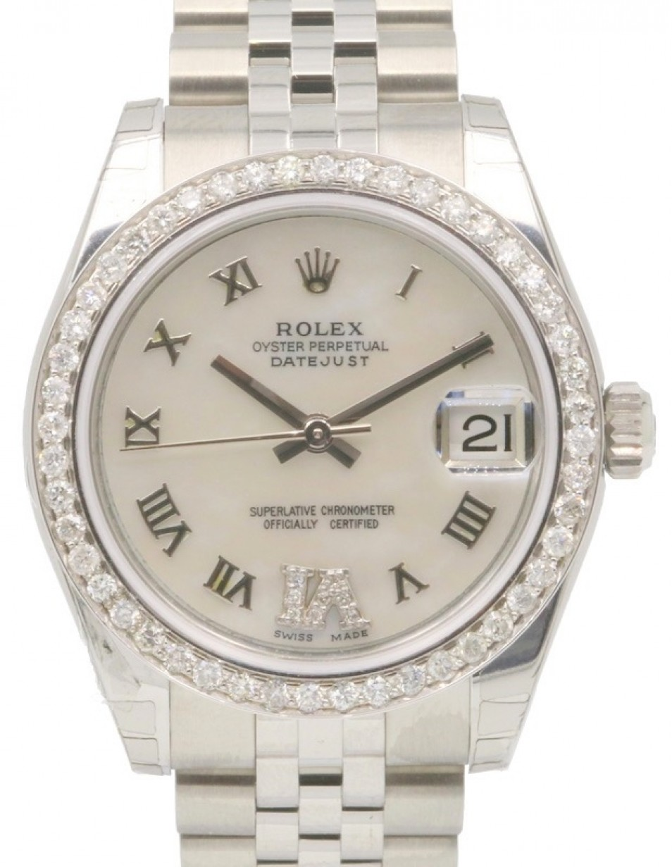 0da9ab17d1d Rolex Datejust 178240 31mm Midsize Diamond Pave 6 VI White Mother ...