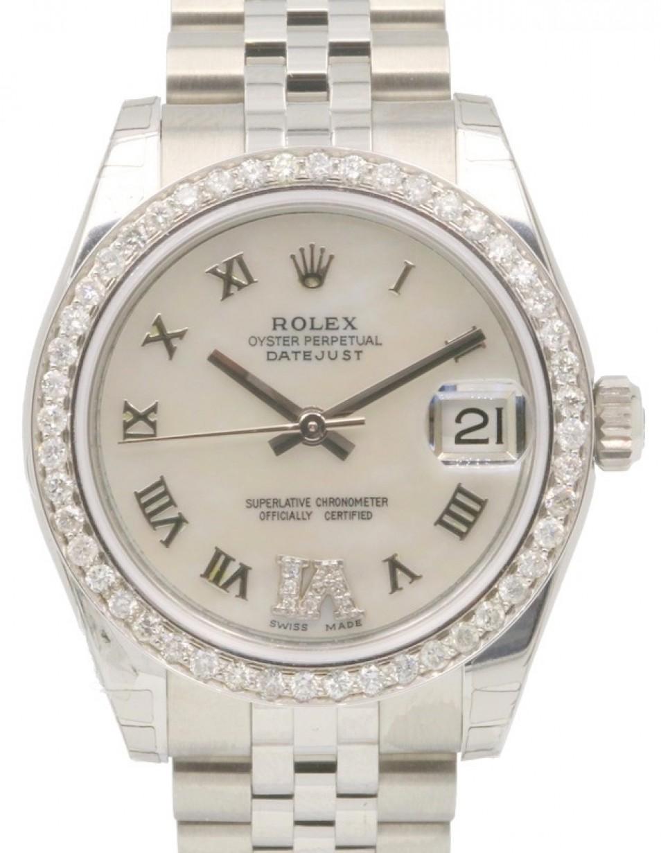 b837b379e95 Rolex Datejust 178240 31mm Midsize Diamond Pave 6 VI White Mother ...