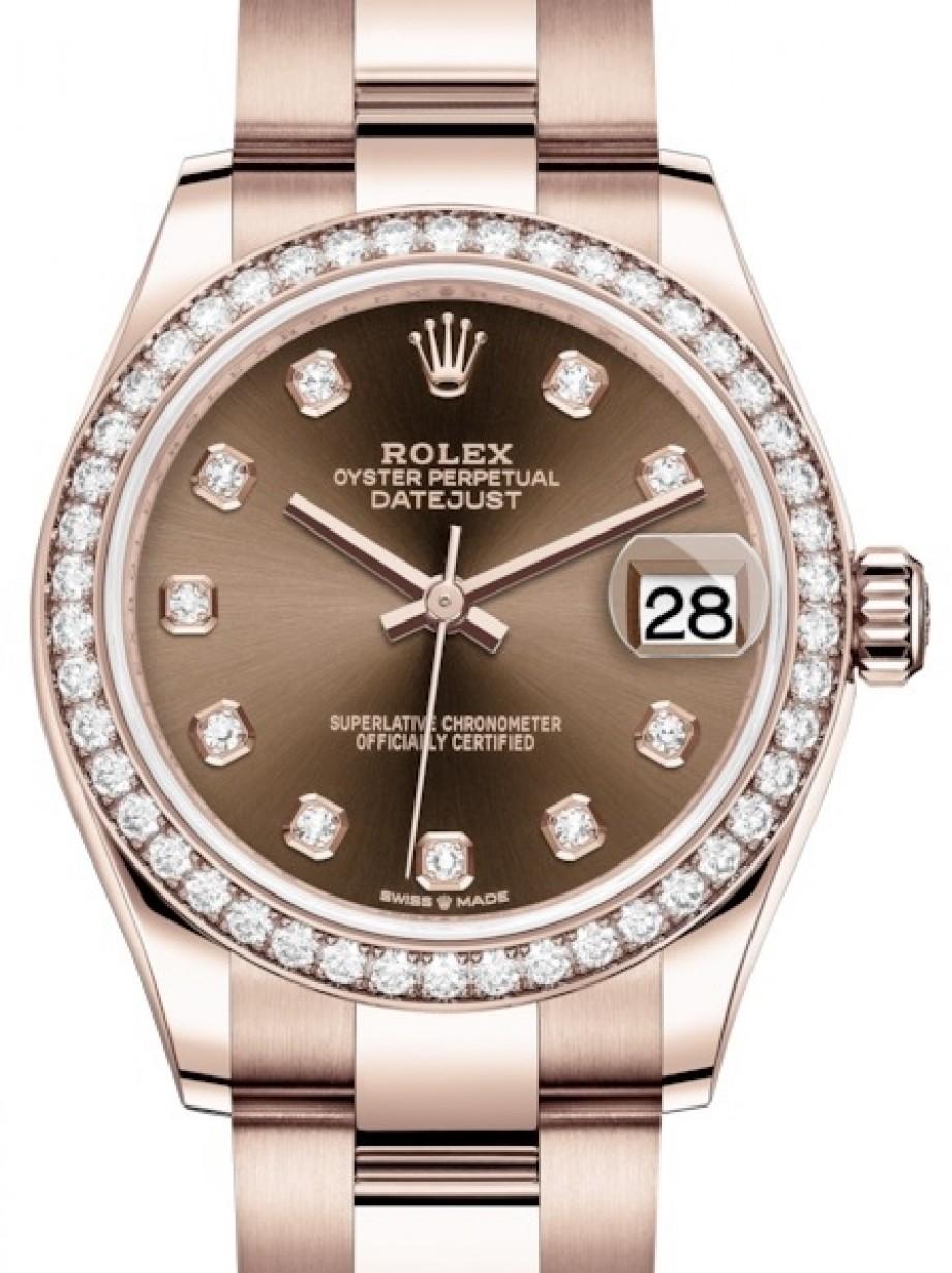 Rolex Datejust 31 Lady Midsize Rose Gold Chocolate Diamond Dial \u0026 Diamond  Bezel Oyster Bracelet 278285RBR , BRAND NEW