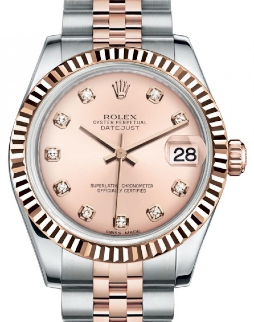 133e996c30 Rolex Datejust 31 Lady Midsize Rose Gold/Steel Pink Diamond Dial ...