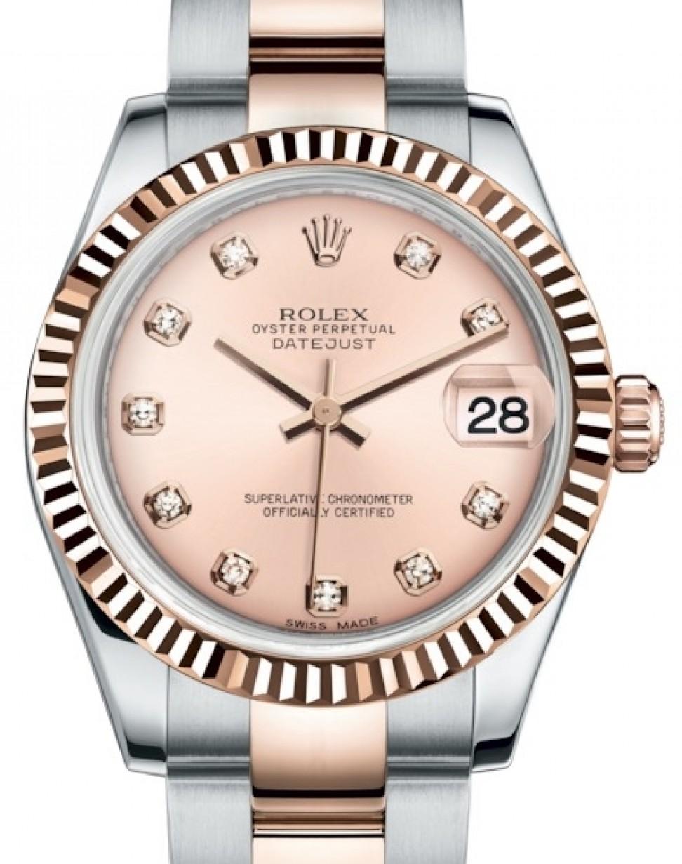 Rolex Datejust 31 Lady Midsize Rose Gold/Steel Pink Diamond Dial \u0026 Fluted  Bezel Oyster Bracelet 178271 , BRAND NEW