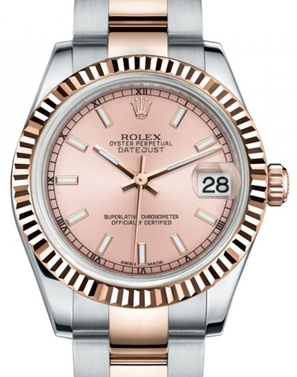 a7890b86616 More Views. Rolex Datejust 31 Lady Midsize Rose Gold/Steel Pink Index Dial  & Fluted Bezel Oyster