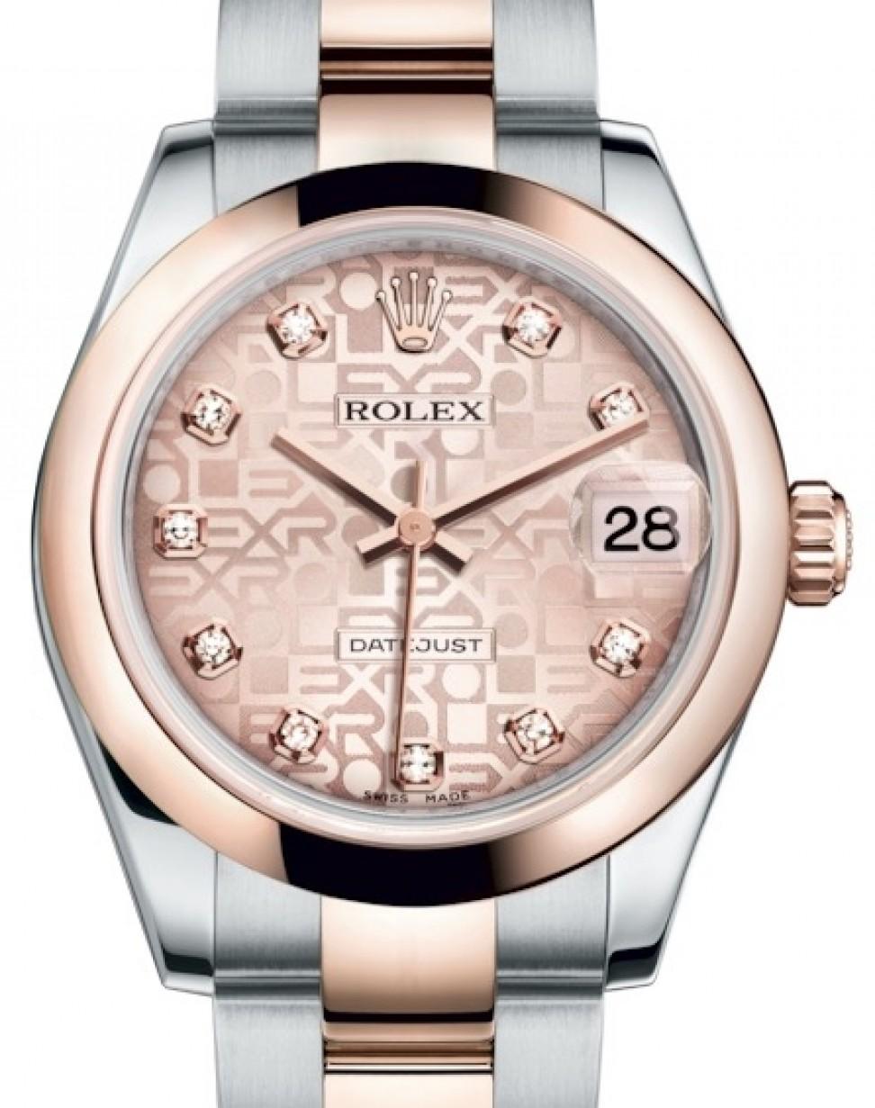 Rolex Datejust 31 Lady Midsize Rose Gold/Steel Pink Jubilee Diamond Dial \u0026  Smooth Domed Bezel Oyster Bracelet 178241 , BRAND NEW