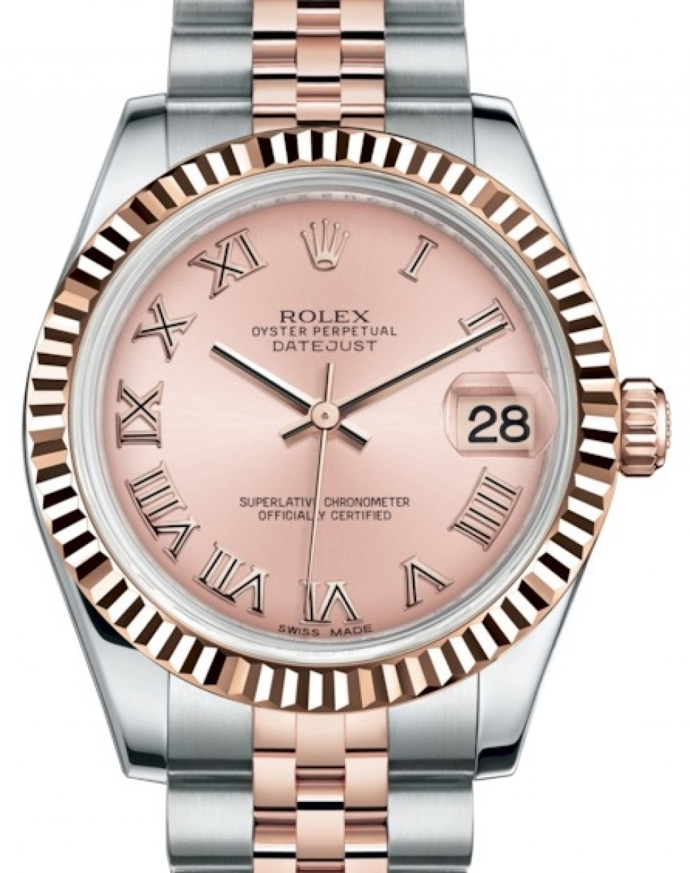 95f7016ea1d Rolex Datejust 31 Lady Midsize Rose Gold/Steel Pink Roman Dial ...
