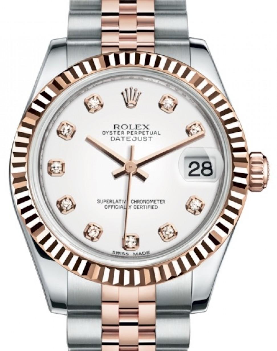 Rolex Datejust 31 Lady Midsize Rose Gold Steel White Diamond Dial Fluted Bezel Jubilee Bracelet 178271 Brand New