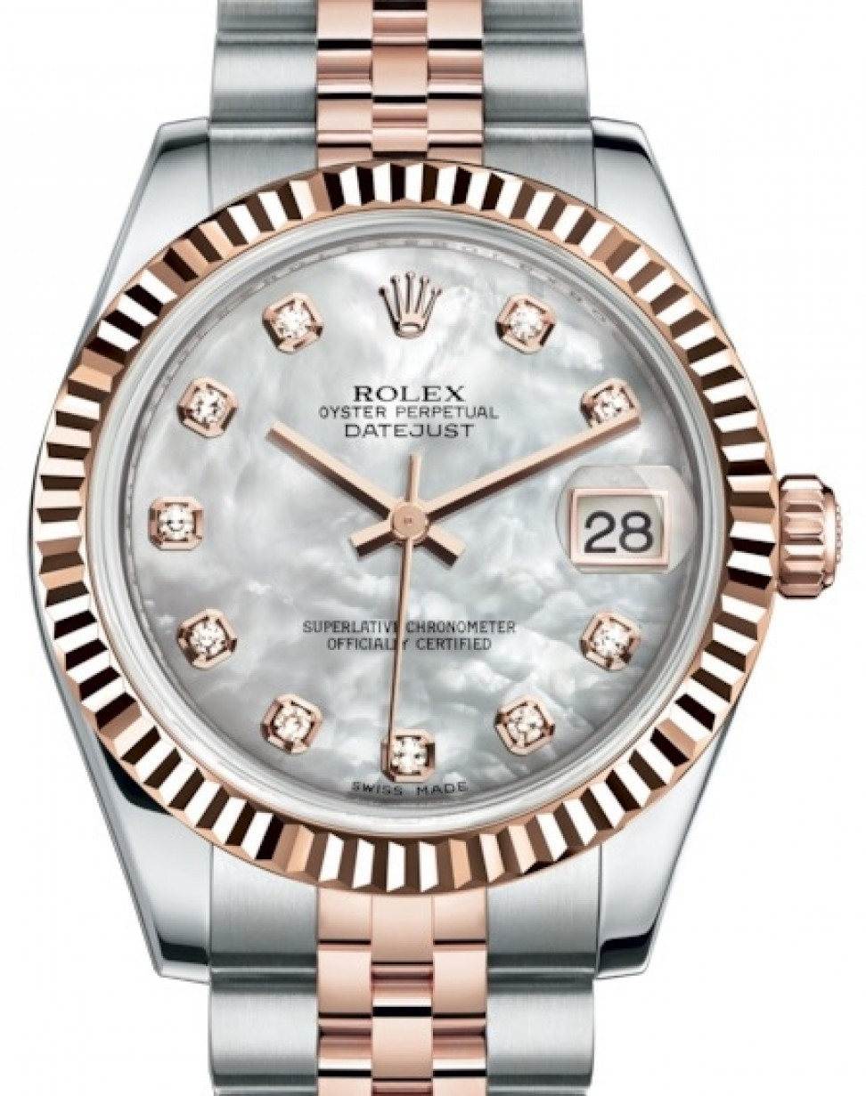 Rolex Datejust 31 Lady Midsize Rose Gold Steel White Mother Of Pearl Diamond Dial Fluted Bezel Jubilee Bracelet 178271 Brand New