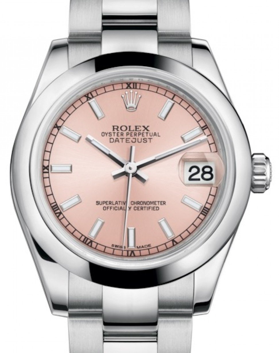 19bf4a37c92d2 Rolex Datejust 31 Lady Midsize Stainless Steel Pink Index Dial & Smooth  Domed Bezel Oyster Bracelet 178240 - BRAND NEW