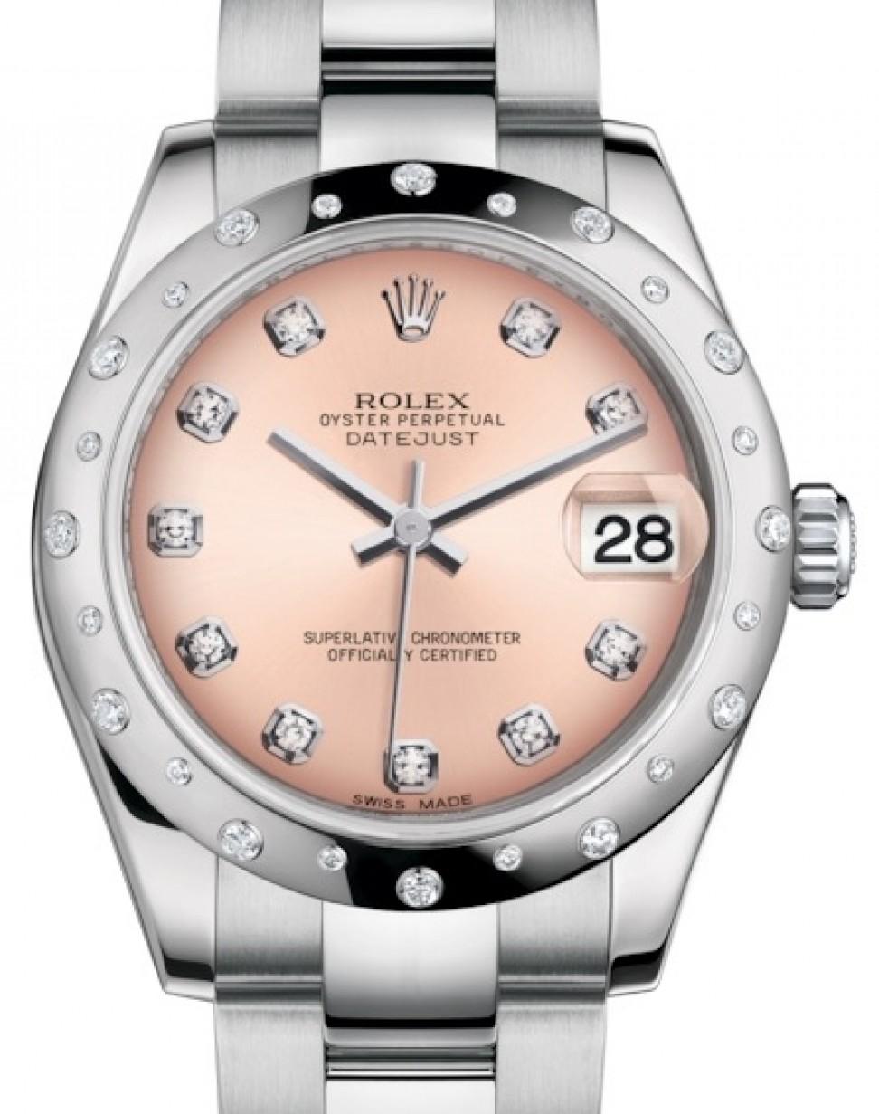 Rolex Datejust 31 Lady Midsize White Gold/Steel Pink Diamond Dial \u0026 Diamond  Set Domed Bezel Oyster Bracelet 178344 , BRAND NEW