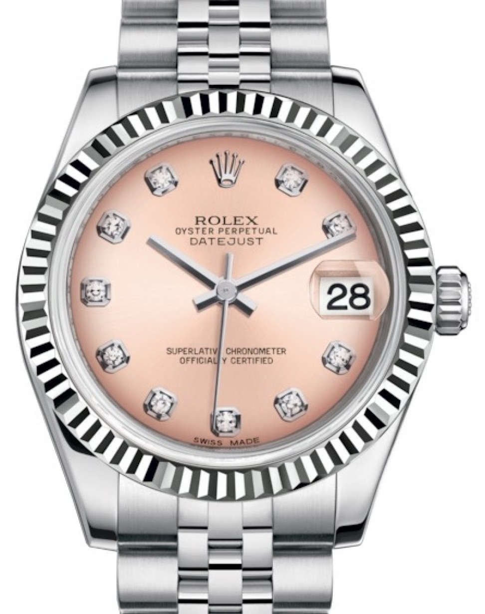 Rolex Datejust 31 Lady Midsize White Gold/Steel Pink Diamond Dial \u0026 Fluted  Bezel Jubilee Bracelet 178274 , BRAND NEW