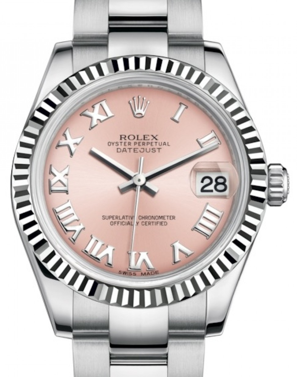 617058377bc More Views. Rolex Datejust 31 Lady Midsize White Gold/Steel Pink Roman Dial  ...