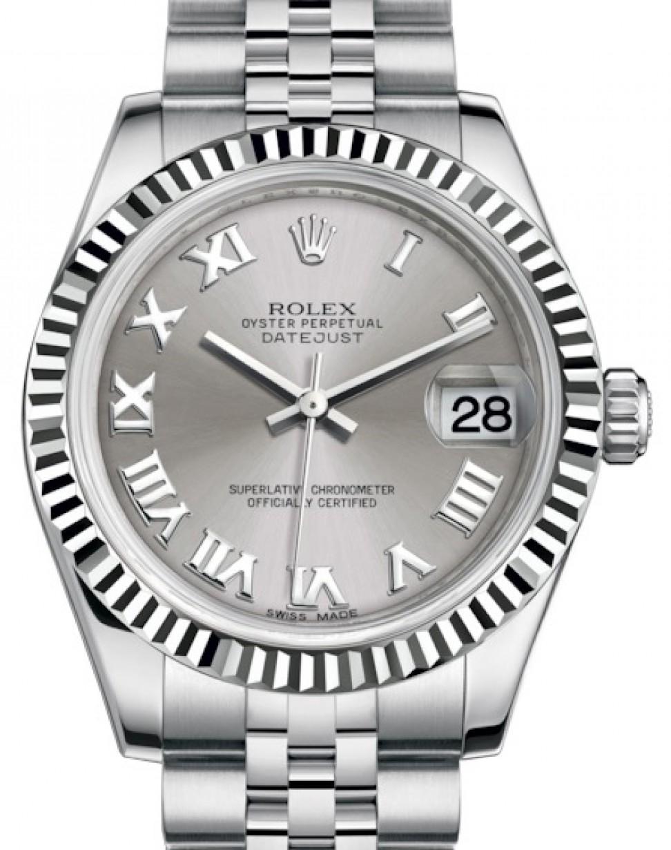 Rolex Datejust 31 Lady Midsize White Gold Steel Rhodium Roman Dial Fluted Bezel Jubilee Bracelet 178274 Brand New