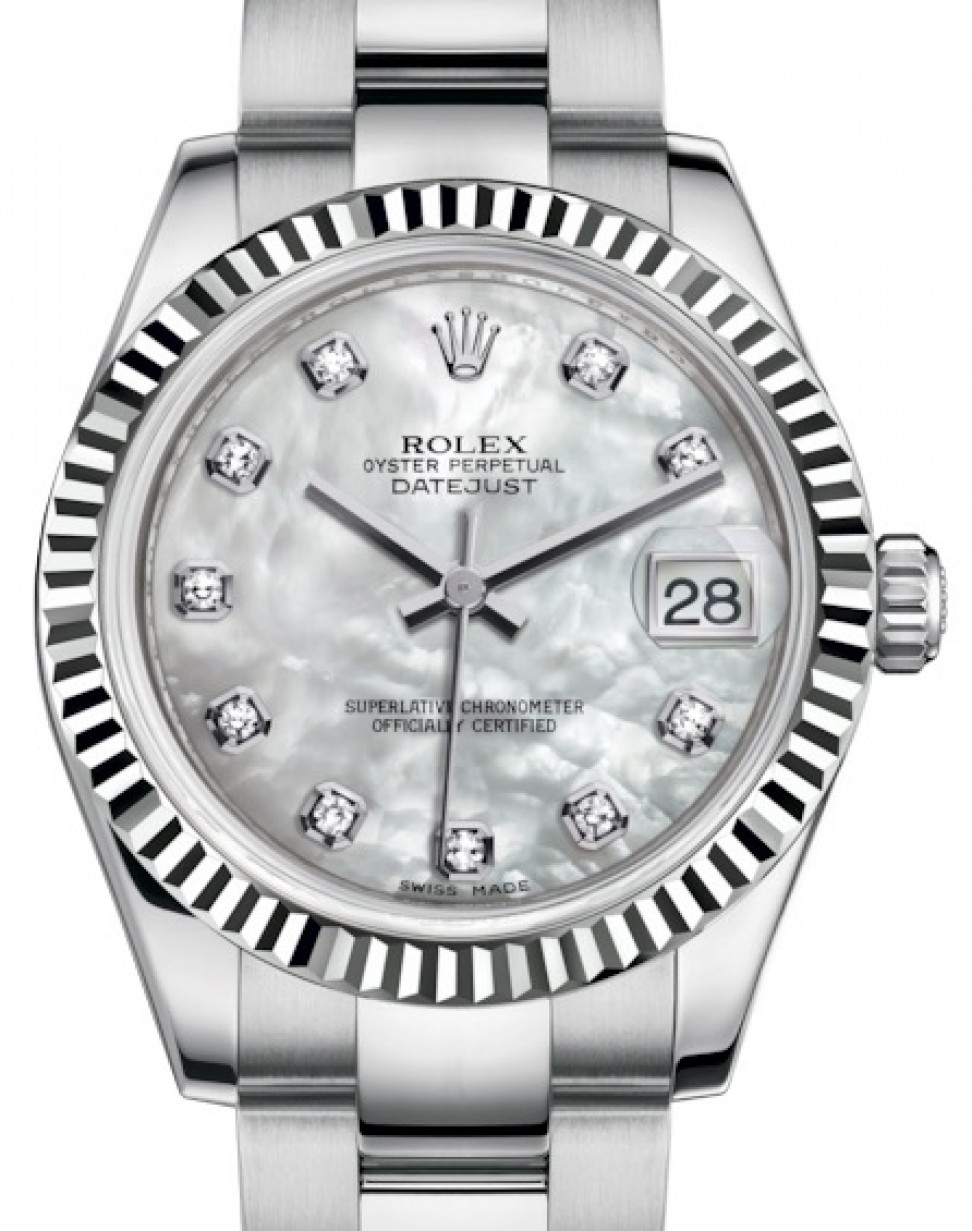 Rolex Datejust 31 Lady Midsize White Gold Steel White Mother Of Pearl Diamond Dial Fluted Bezel Oyster Bracelet 178274 Brand New