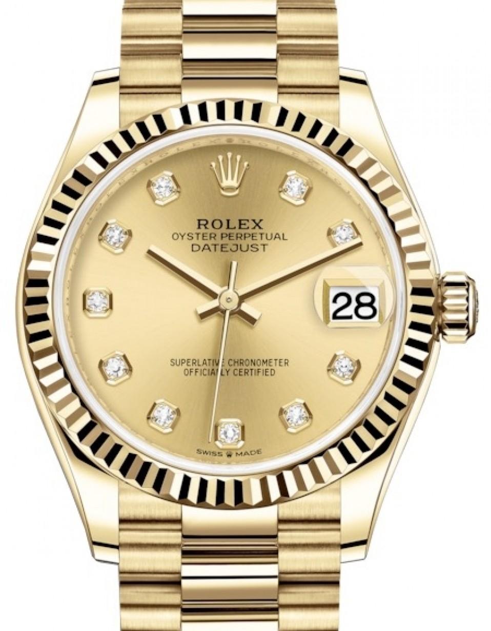 Rolex Datejust 31 Lady Midsize Yellow Gold Champagne Diamond Dial \u0026 Fluted  Bezel President Bracelet 278278 , BRAND NEW