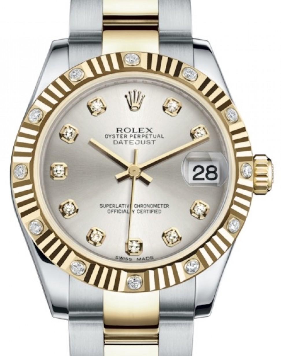 8eae0b76ced Rolex Datejust 31 Lady Midsize Yellow Gold/Steel Silver Diamond ...