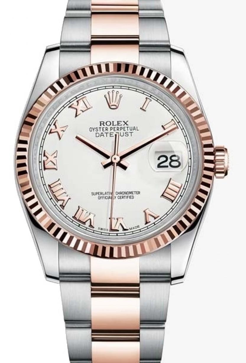Rolex Datejust 36 Rose Gold/Steel White Roman Dial \u0026 Fluted Bezel Oyster  Bracelet 116231 , BRAND NEW