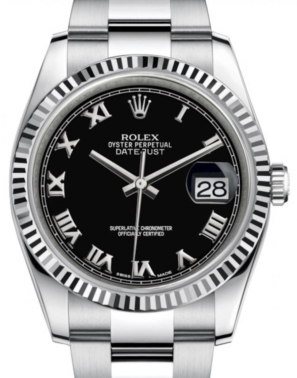Rolex Datejust 36 White Gold/Steel Black Roman Dial \u0026 Fluted Bezel Oyster  Bracelet 116234 , BRAND NEW
