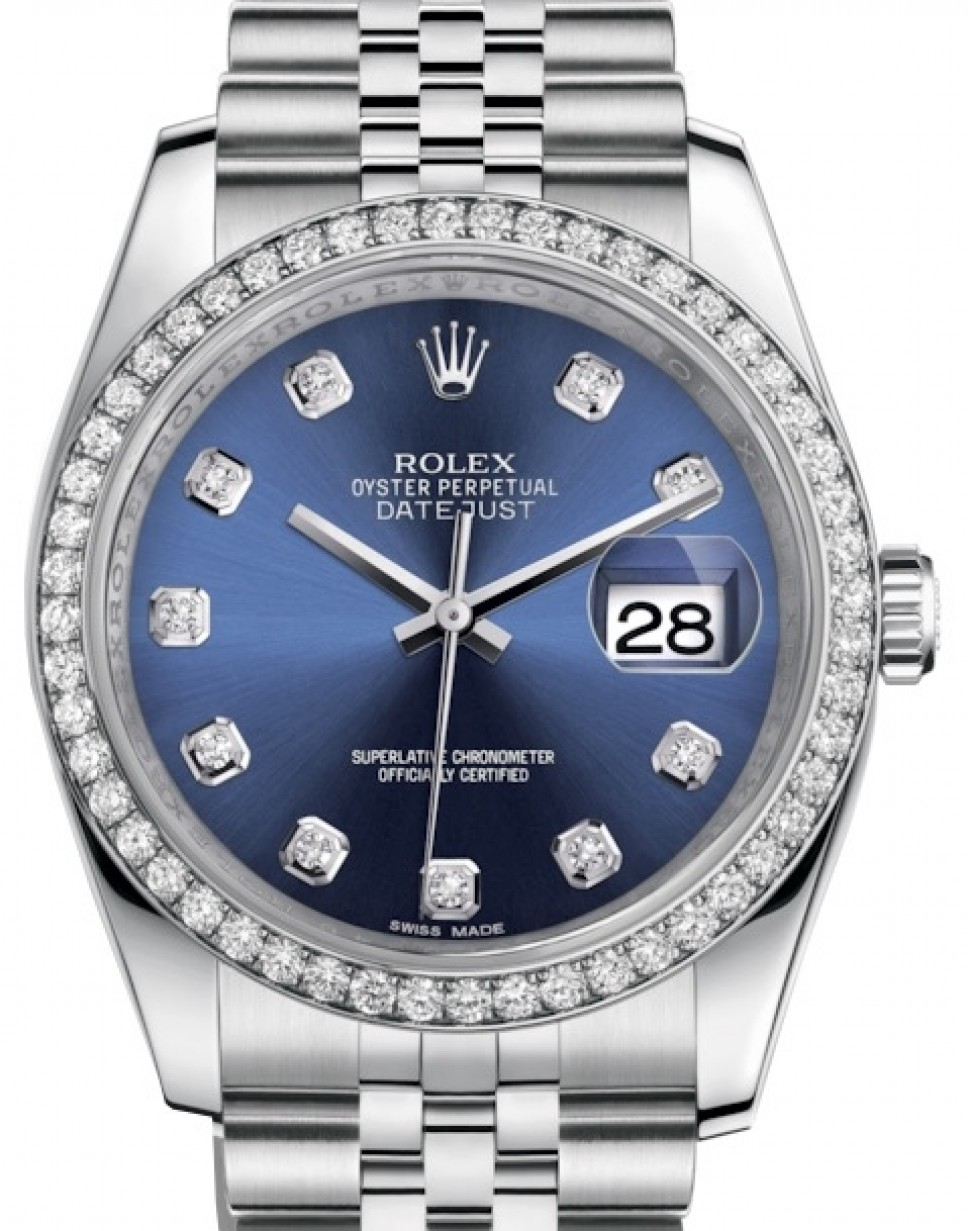 Rolex Datejust 36 White Gold/Steel Blue Diamond Dial \u0026 Diamond Bezel  Jubilee Bracelet 116244 , BRAND NEW