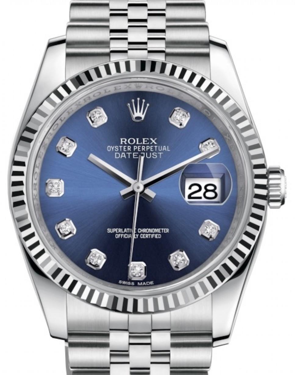 Rolex Datejust 36 White Gold/Steel Blue Diamond Dial \u0026 Fluted Bezel Jubilee  Bracelet 116234 , BRAND NEW