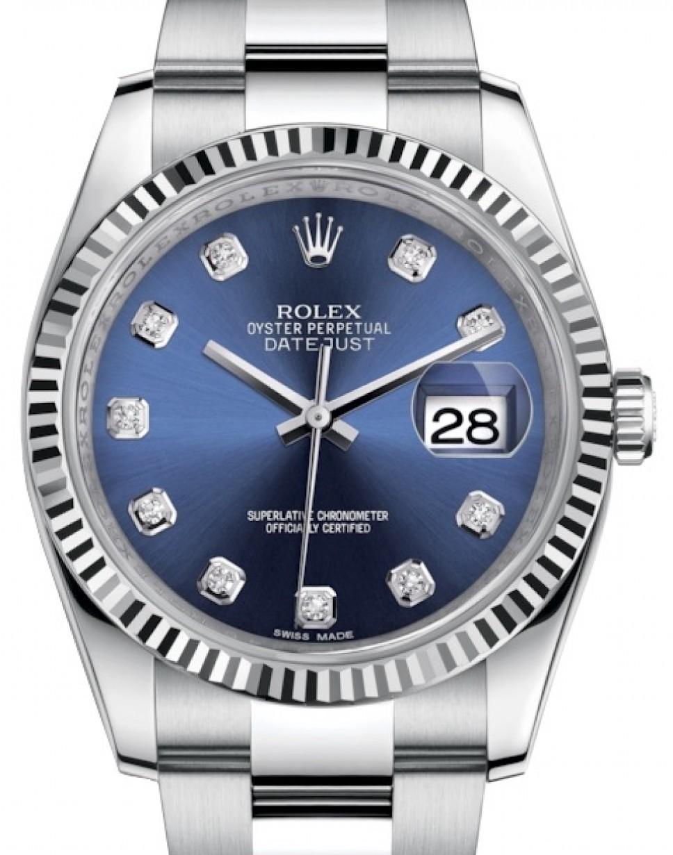 Rolex Datejust 36 White Gold/Steel Blue Diamond Dial \u0026 Fluted Bezel Oyster  Bracelet 116234 , BRAND NEW