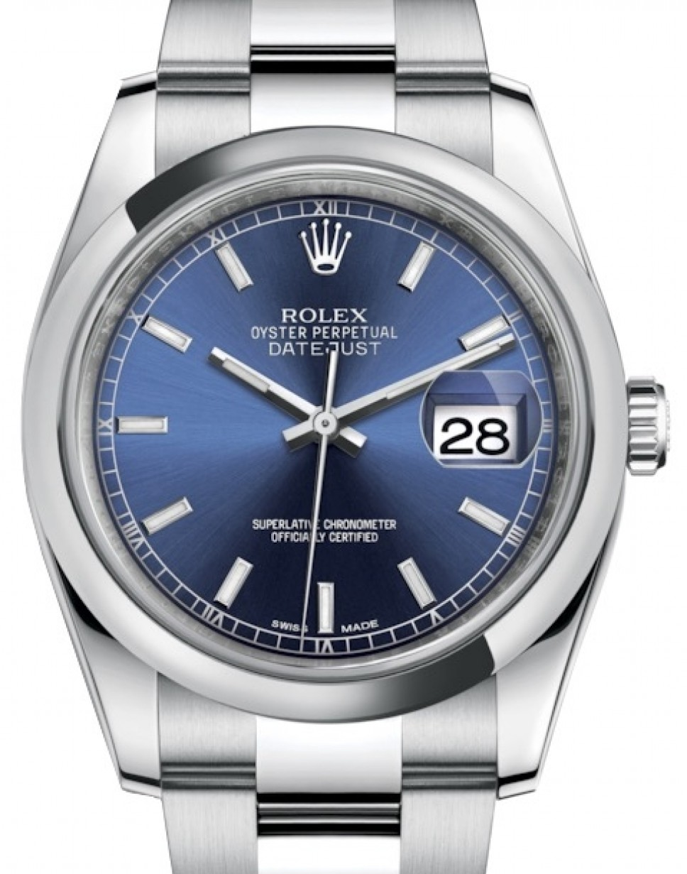 Rolex Datejust 36 Stainless Steel Blue Index Dial \u0026 Smooth Domed Bezel  Oyster Bracelet 116200 , BRAND NEW