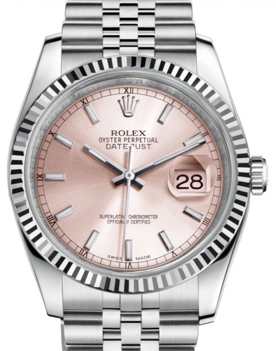 975a248ad7f More Views. Rolex Datejust 36 White Gold/Steel Pink Index Dial & Fluted  Bezel Jubilee Bracelet 116234