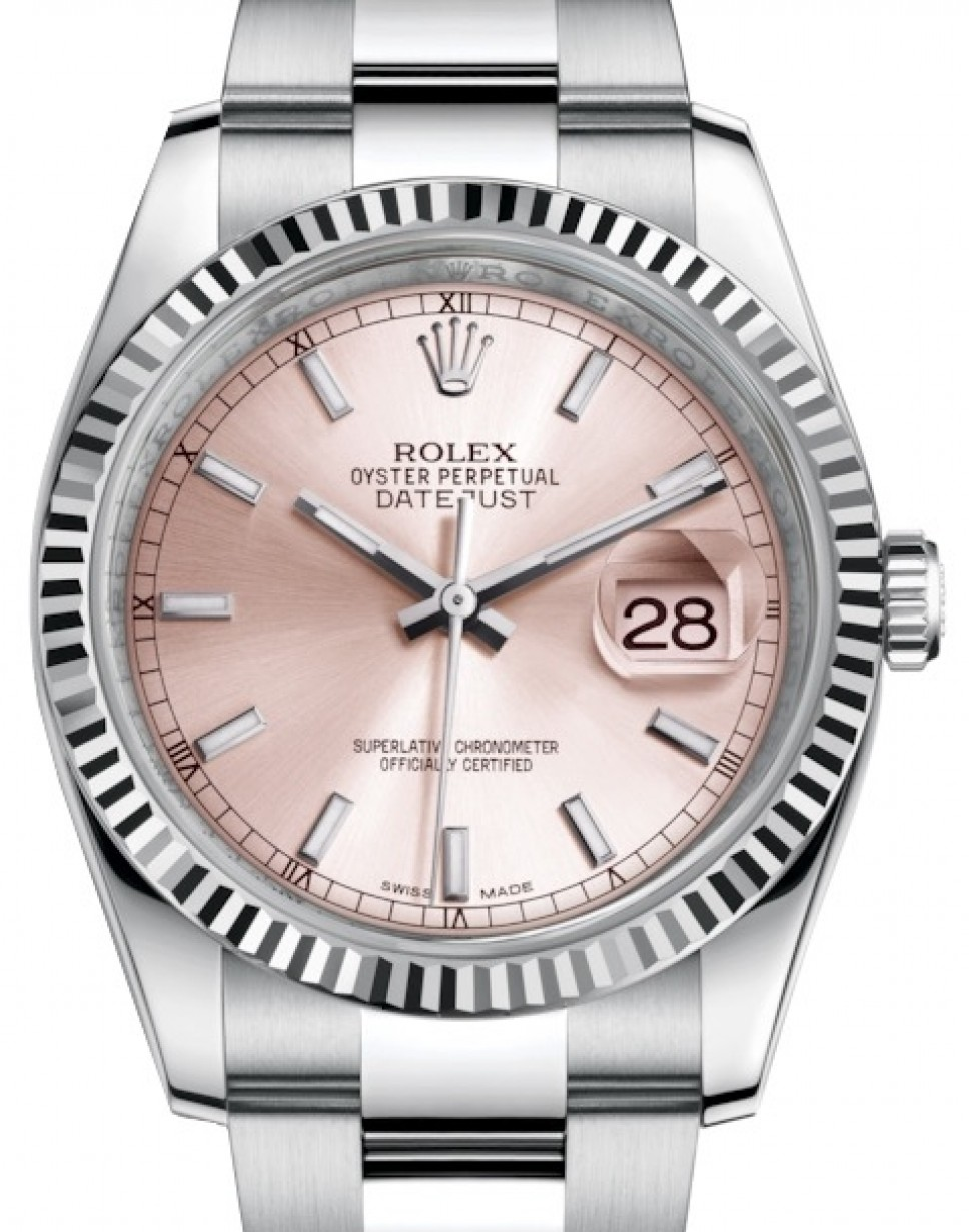 Rolex Datejust 36 White Gold/Steel Pink Index Dial \u0026 Fluted Bezel Oyster  Bracelet 116234 , BRAND NEW