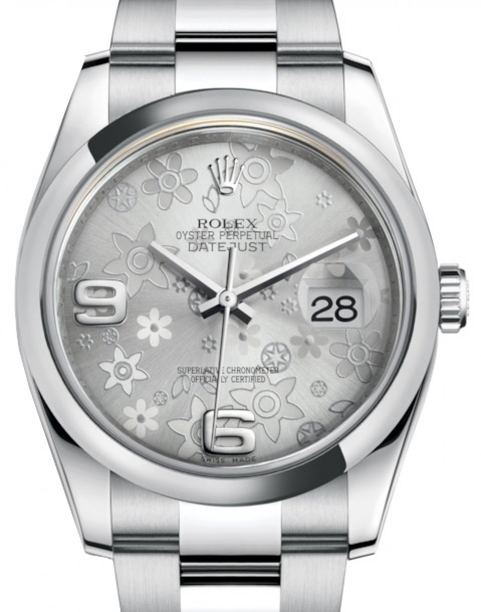 cdb9e10531f More Views. Rolex Datejust 36 Stainless Steel Silver Floral Motif Arabic  Dial & Smooth Domed Bezel Oyster Bracelet