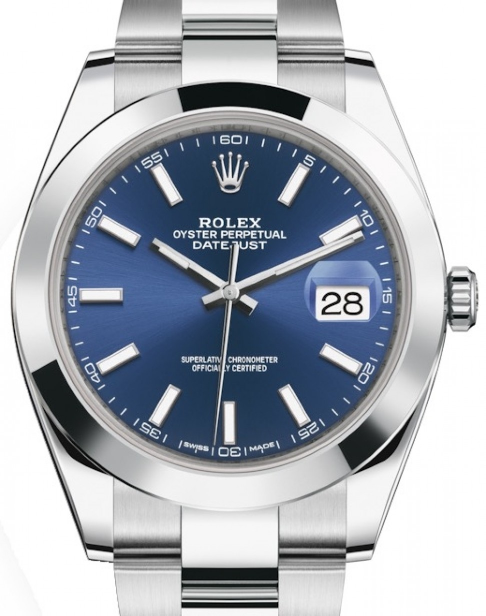 Rolex Datejust 41 Stainless Steel Blue Index Dial Smooth Bezel Oyster  Bracelet 126300 , BRAND NEW