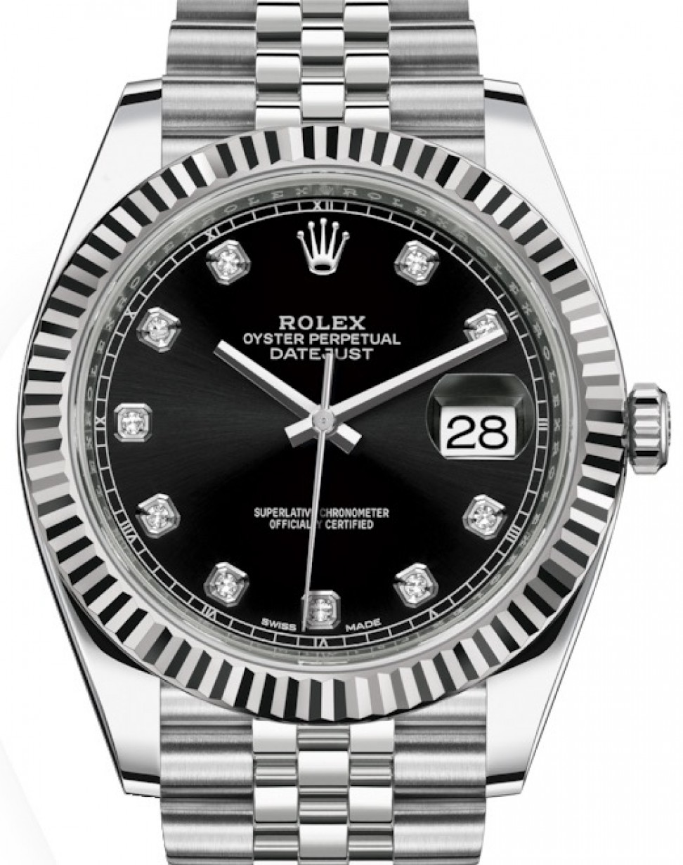 Rolex Datejust 41 White Gold/Steel Black Diamond Dial Fluted Bezel Jubilee  Bracelet 126334 , BRAND NEW