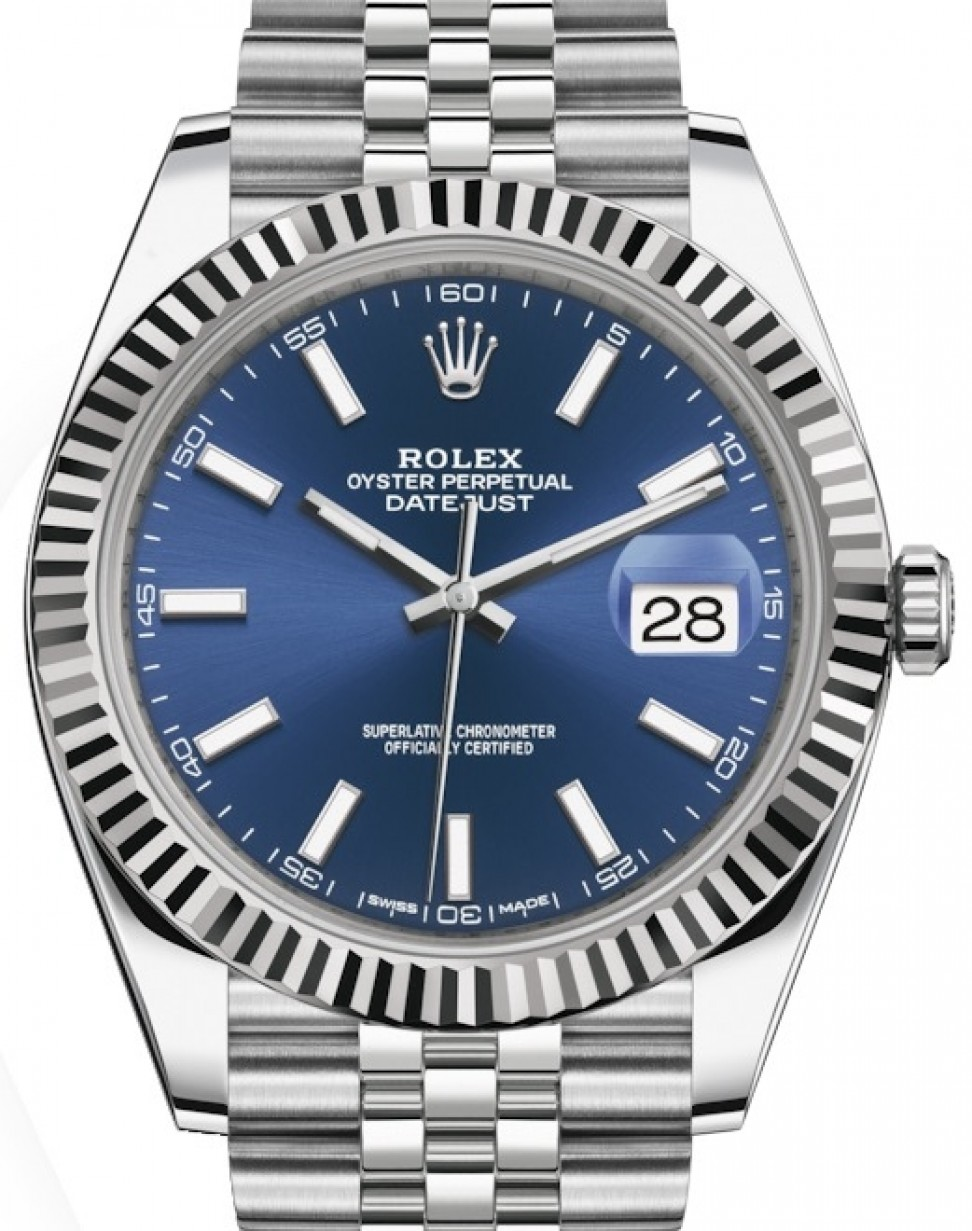 Rolex Datejust 41 White Gold/Steel Blue Index Dial Fluted Bezel Jubilee  Bracelet 126334 , BRAND NEW