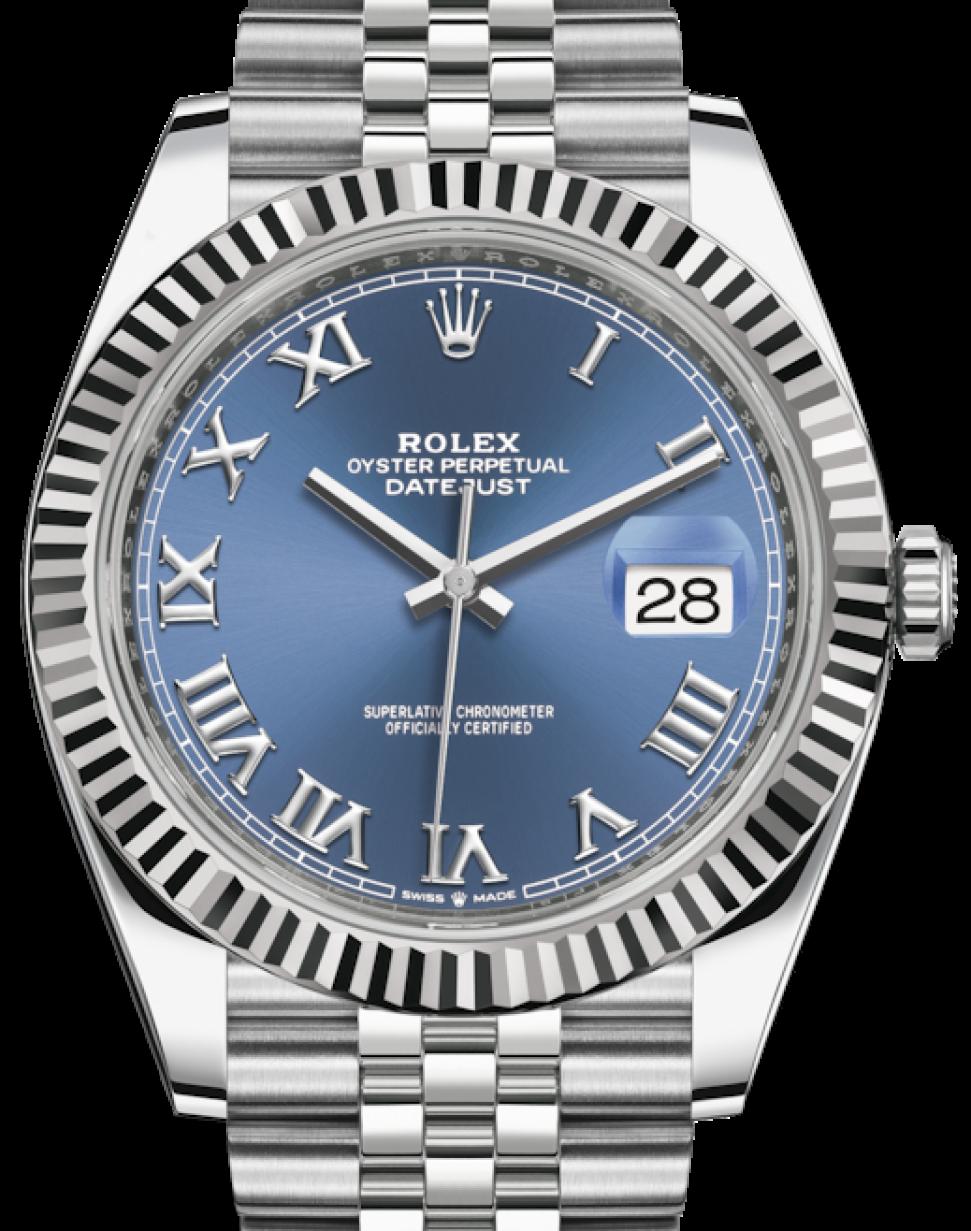 Rolex Datejust 41 White Gold/Steel Blue Roman Dial Fluted Bezel Jubilee  Bracelet 126334 , BRAND NEW