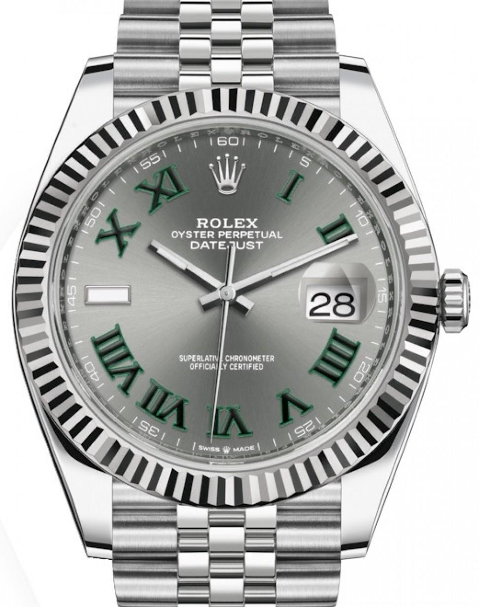 Rolex Datejust 41 White Gold/Steel Slate Roman Dial Fluted Bezel Jubilee  Bracelet 126334 , BRAND NEW