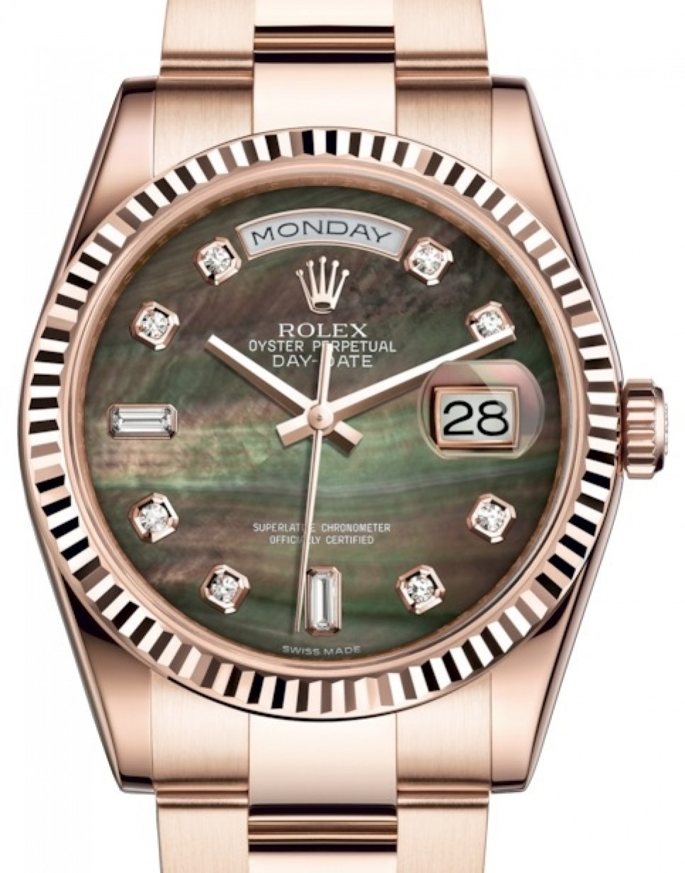 c001cdaf028 More Views. Rolex Day-Date 36 Rose Gold Black Mother of Pearl Diamond Dial  ...
