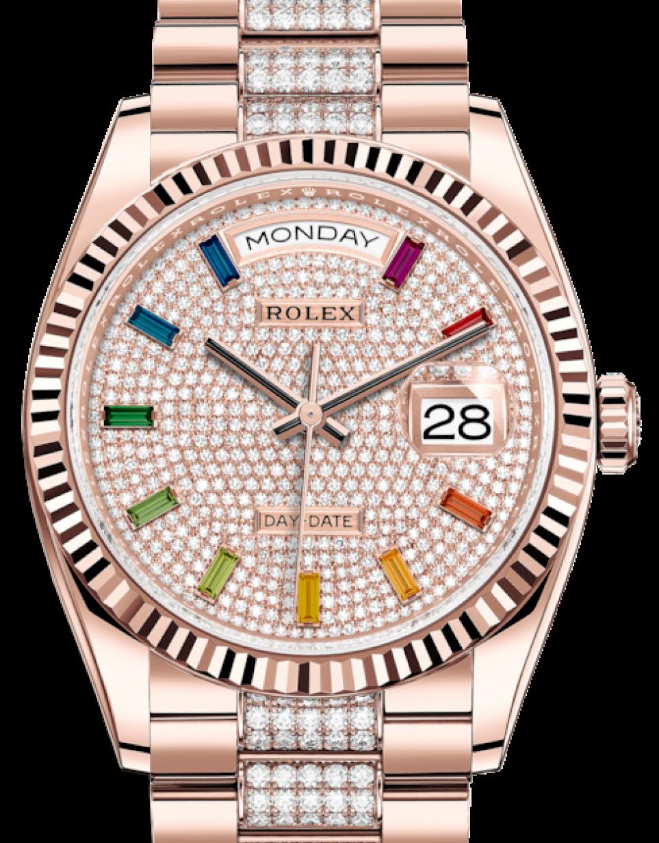 Rolex Day,Date 36 Rose Gold Diamond Paved Rainbow Colored Sapphires Dial \u0026  Fluted Bezel Diamond Set President Bracelet 128235 , BRAND NEW
